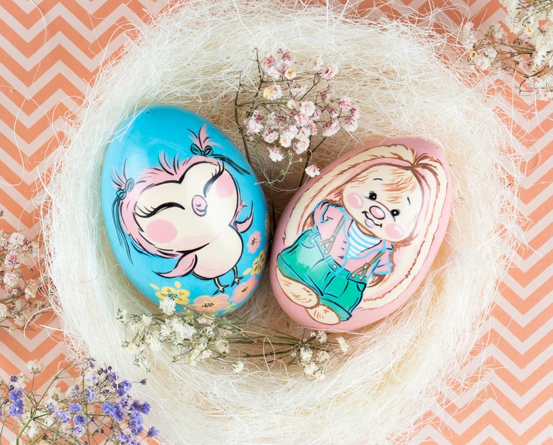 Egg on a stand with cute bunny Easter gift ideas Easter bunny Painted egg Easter decor set Easter wooden egg Owl Easter decor
