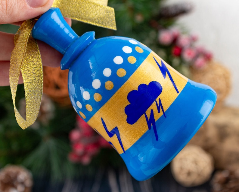 Hand-painted Wooden bells 3,5/'/' Russian Christmas ornaments Christmas Gift Christmas tree ornaments Wooden bell ornament 9cm