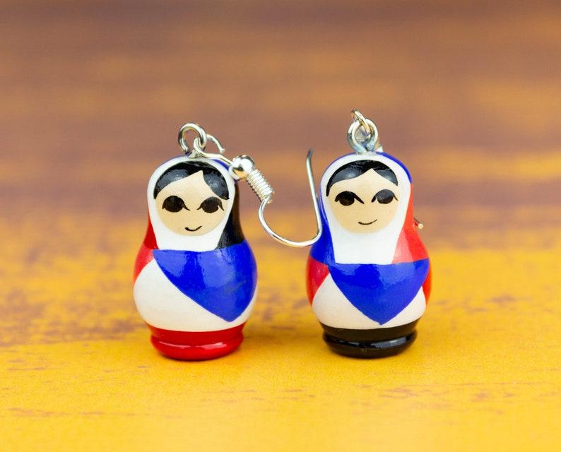 Russian matryoshka colorful earrings Russian nesting doll jewelry Matryoshka dolls Babushka doll Matryoshka jewelry