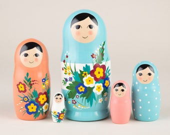 Russian nesting dolls for kids pink and blue | Stacking doll | Matryoshka 5 pieces | Babushka doll | Nested dolls | Matryoshka doll