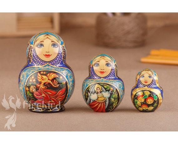 Matryoshka Russian Nesting Doll Wooden Babushka Beautiful Sunflowers 5 Pieces