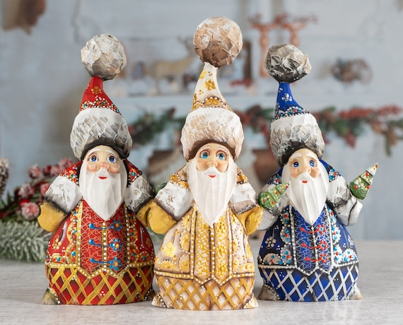 Santa Figurines Santa Claus Figurine Christmas Decor Gold And Etsy
