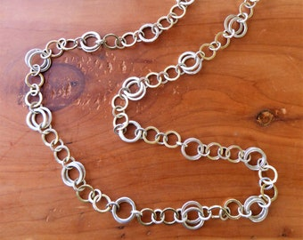 99e802adf TIFFANY & CO. 925 Sterling Silver 18k 750 Yellow Gold Circle Link Chain  Necklace 32