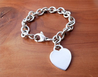 59c02b78b2ba TIFFANY   CO. 925 Sterling Silver Blank Engravable Heart Tag Chain Bracelet  7.5