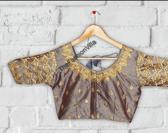 BLACK Designer Birds Heavy Embroidery Readymade Blouse Party Wear Wedding Saree Stitched Crop Sari Top New Banglori Silk Women