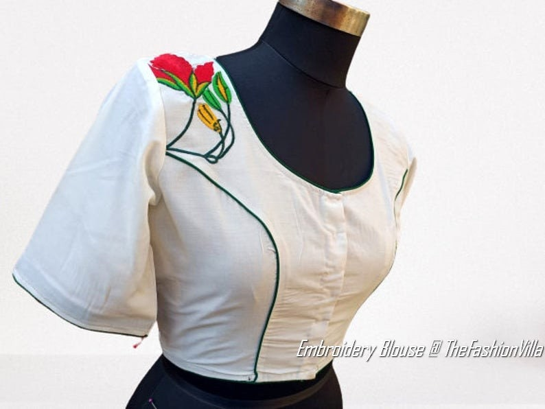 Festive Indian Handcrafted Embroidered Cotton Stitched Readymade Blouse For Women/'s Party Occasion Wedding Wear Crop Tops /& Tees Ethnic