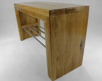 Bench Bench wooden Bench Wild Oak shoe rack Stainless Steel Wardrobe bank Hallbench Storage