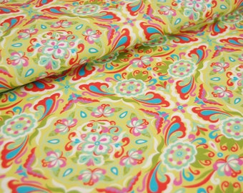0.50m swafing cotton, thea, floral ornaments in green, red and blue