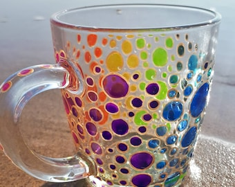 bac7974997b Rainbow Mugs Rainbow Bubbles Coffee Mug Hand Painted Stained Glass  Personalized Gift Mosaic Mug Multi Coloured Bubbles Mug Sun Catcher