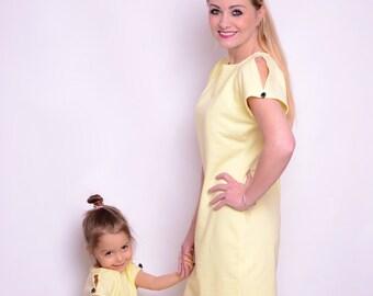 37fcaabd88a2f8 Mutter und Tochter Kleider gelbe Banane Mama Kinder Satz Gr.34-46 + 80-158