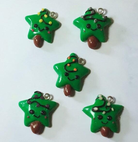 Polymer Clay Christmas Charms.Cute Christmas Charms Cute Gift Ideas Cute Star Gifts Polymer Clay Charms Planner Charms Keyring Charm Holiday Gift