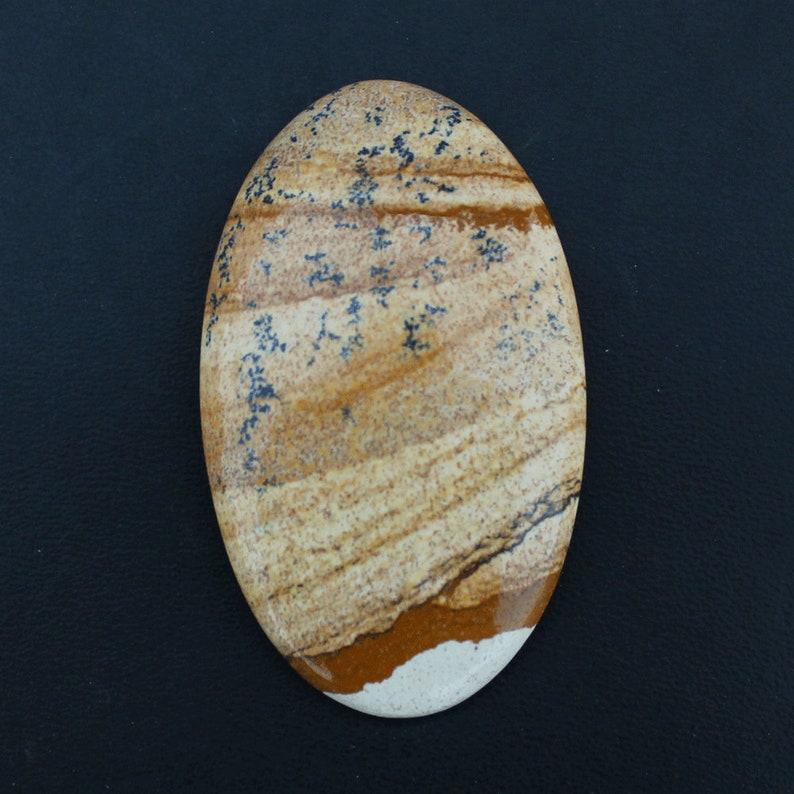 54x32x7mm Natural Picture Jasper Handmade Semi Precious Picture Jasper Loose Stone Oval Shape 85.05 Gemstone For Pendant Making Loose Stone
