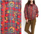 80s Scarf Print Silk Fancy Red Windbreaker For Women Zip Athletic Casual Walking Lightweight Jacket L XL