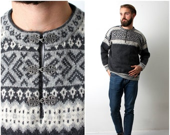 V Hiver Pull MEtsy Tricot Chaude Laine Col Homme KTl1cFJ