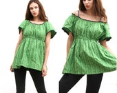 Green Floral Peasant Top Peasant Empire Tunic Short Sleeve Top M