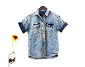 80s Acid Wash New Wave Shirt Womens Funny Embroidered Denim Shirts Medium