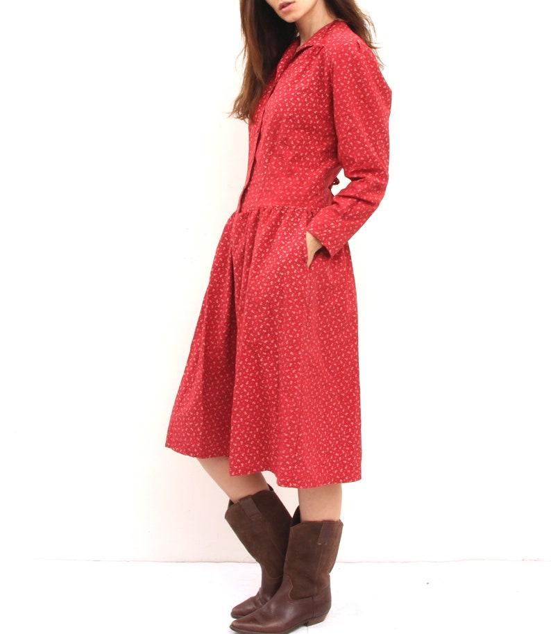 Red Floral Viscose Dress Long Sleeved And Side Pocket Comfy Dress L