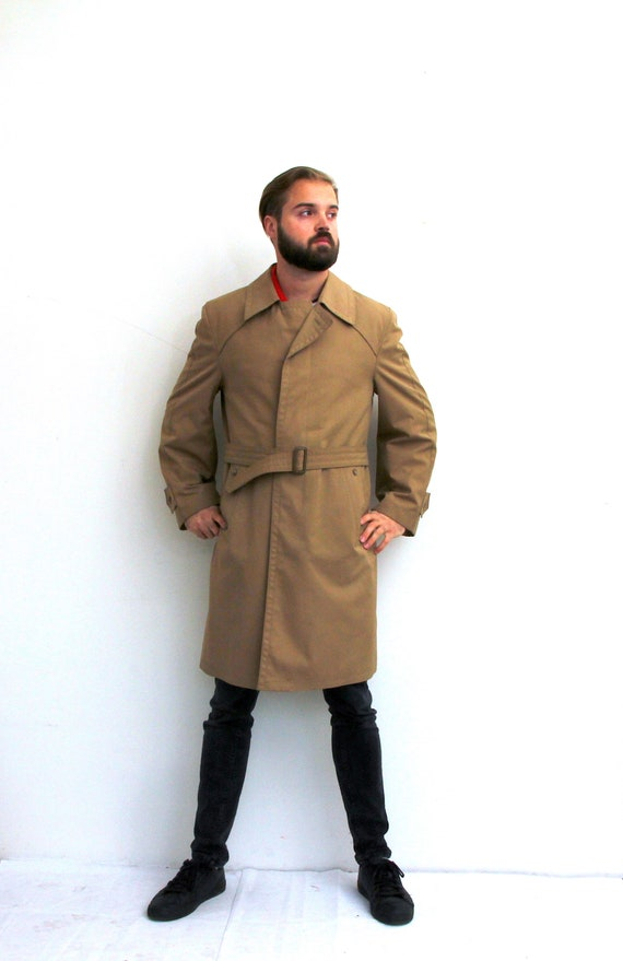 Detective Men Trench Coat Single Breasted Belted B