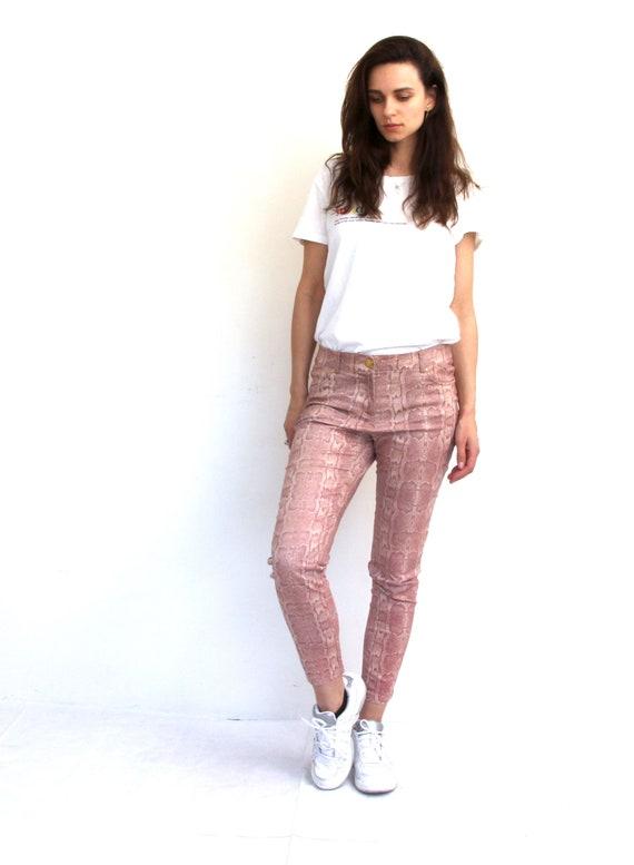90s Snake Skin Printed Pants Slim Fit Trousers Gl… - image 4