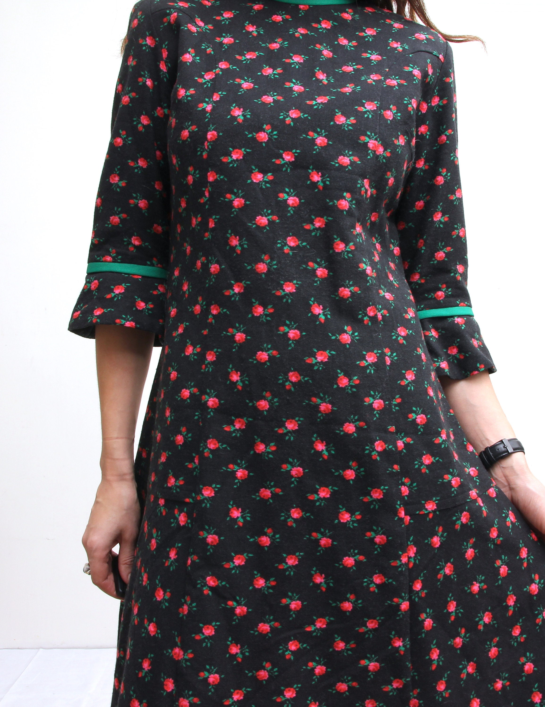 Black Floral Trumpet Sleeve Dress Above Knee Boho Dress Dress Romantic Cute Dress M