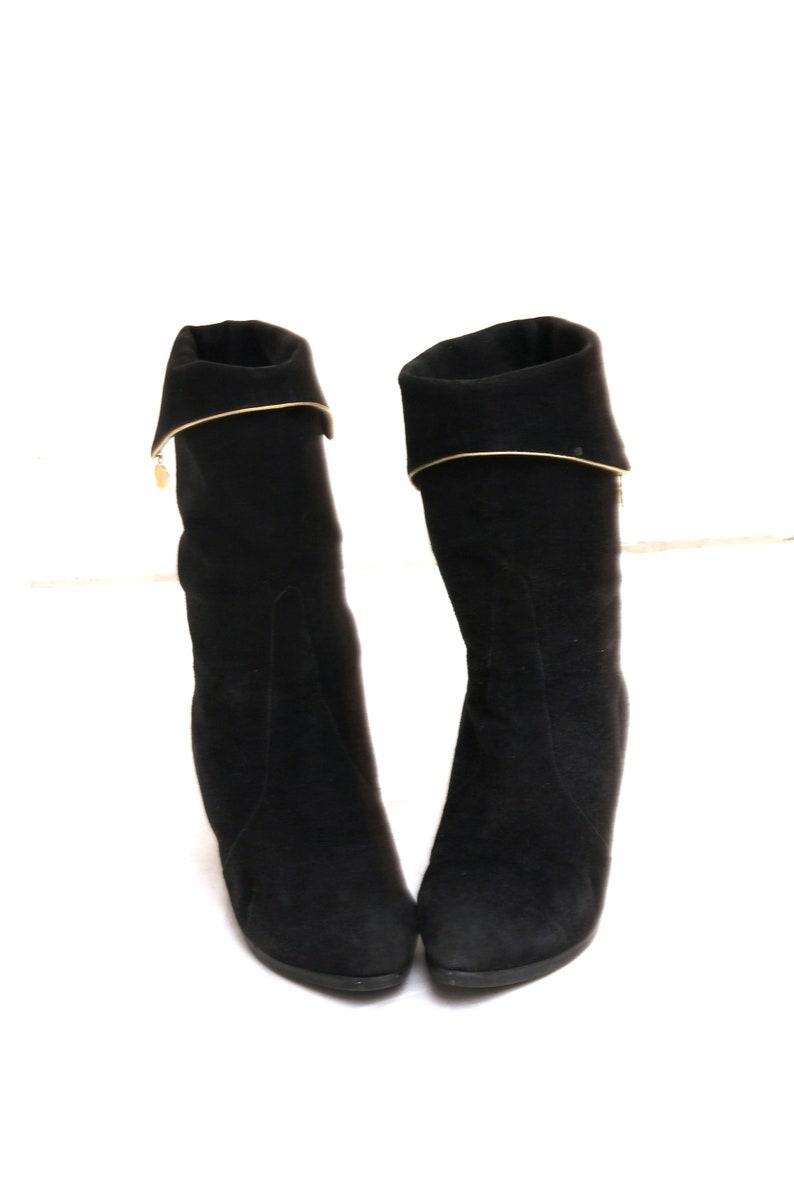 80s Slouch Booties Black Suede Heeled Boots Rocker New Romantic Heels Shoes EU39 UK6 US8/'5