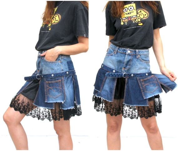 Unique Patchwork Denim Skirt Lace Bottom Skirt Jea