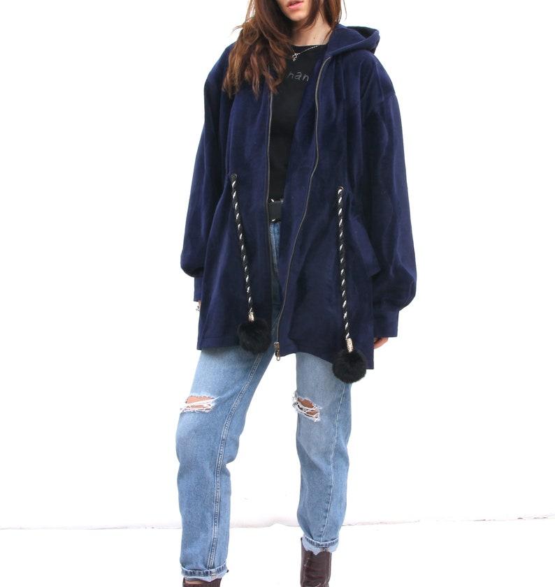 Deep Blue Pom Pom Tie Waist Jacket Loose Minimalist Waisted Jacket For Women XL XXL