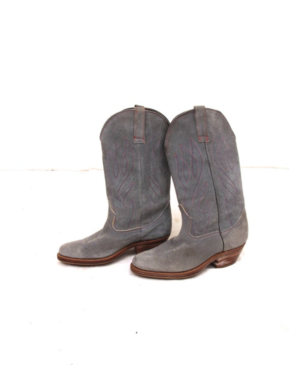 Suede Faded Western Boots Indigo Embroidered Unise