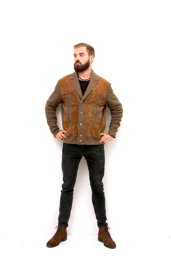 Suede Leather Knitted Cardigan Unisex 80's Casual