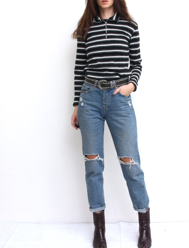 Vertical Stripes Black And White Top Quarter Zip Blouse Fitted Grunge Everyday Top With Long Sleeve M  Made in France