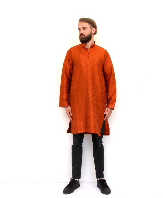 Traditional Indian Long Tunic Oriental Button Up A