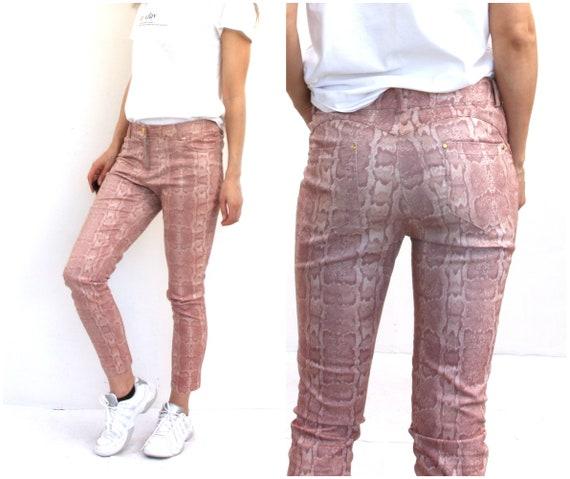 90s Snake Skin Printed Pants Slim Fit Trousers Gl… - image 1