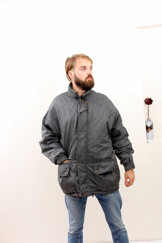Cargo Drawstring Men Jacket Hiking Grey Parka Hooded Coat M L