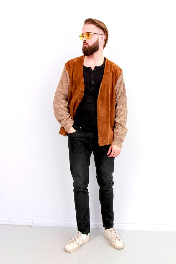 Vintage Unisex Suede Leather Knitted Cardigan Deep