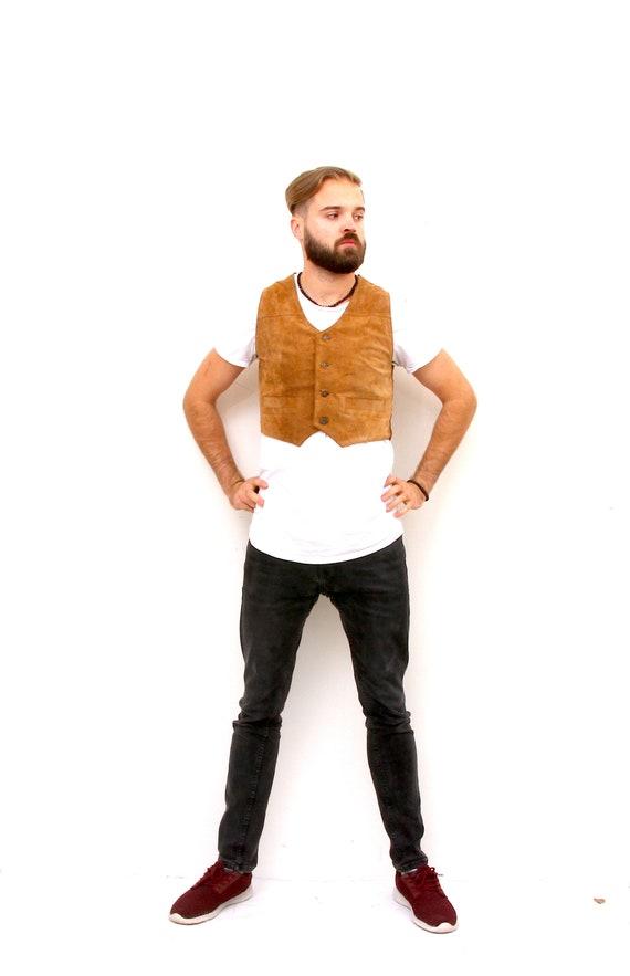 Vintage Unisex Cowgirl Vest Leather Brown Waistcoa