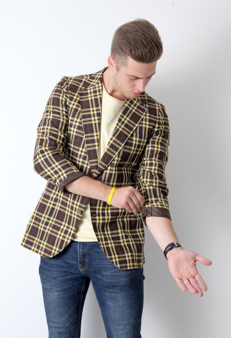 70s Tartan Jacket Tailored Jacket For Men Classic Jacket Yellow Brown Jacket L