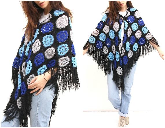 Square Granny Hand Knit Scarf Fringe Colorful Boho