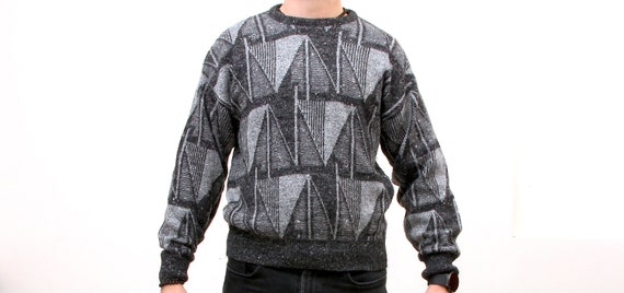 80s Geometric Sweater With Grey Tones Simple Pullover Home Pullover For Man M