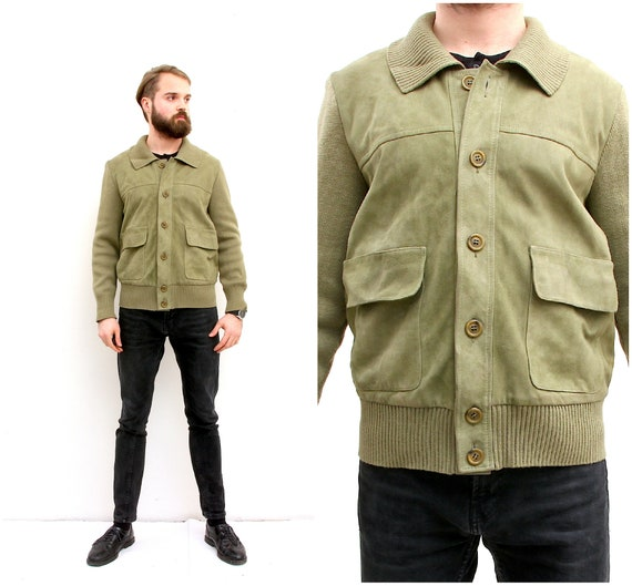 Suede Leather Khaki Men Jacket Knitted Button Down