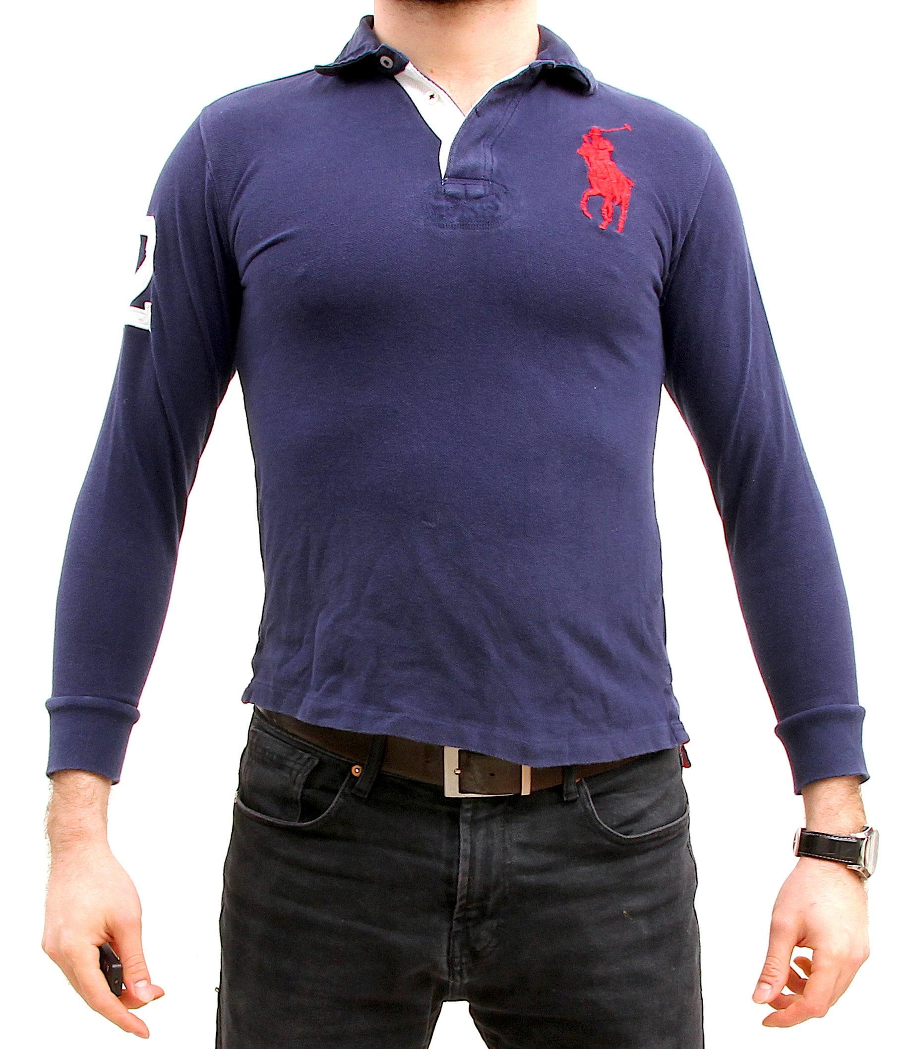 Ralph Lauren Button Up Golf Polo Preppy Horse Riding Sports Sweatshirt S