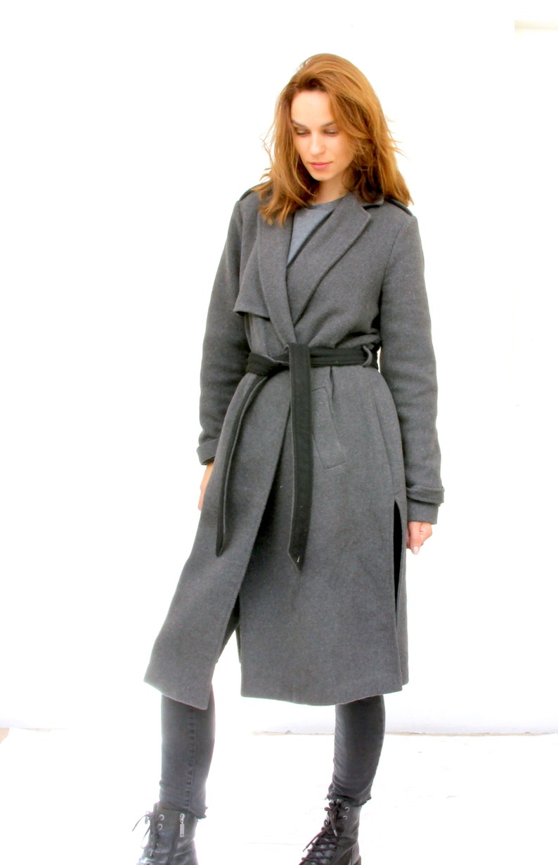 Grey Military Style Wool Coat Woman Belted Minimalist Peacoat M
