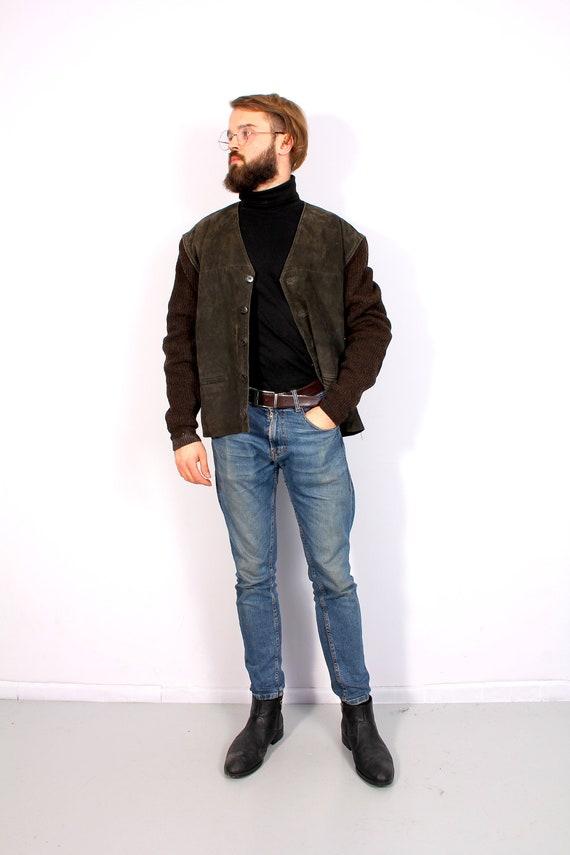 Vintage 80's Suede Leather Cardigan Unisex Deep V-