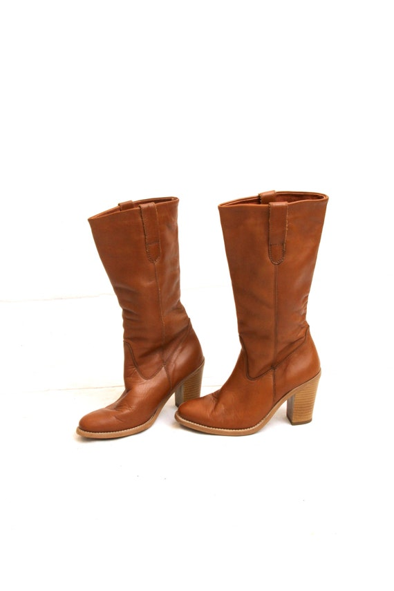 70's High Heels Tall Boho Boots Brown Leather Boot