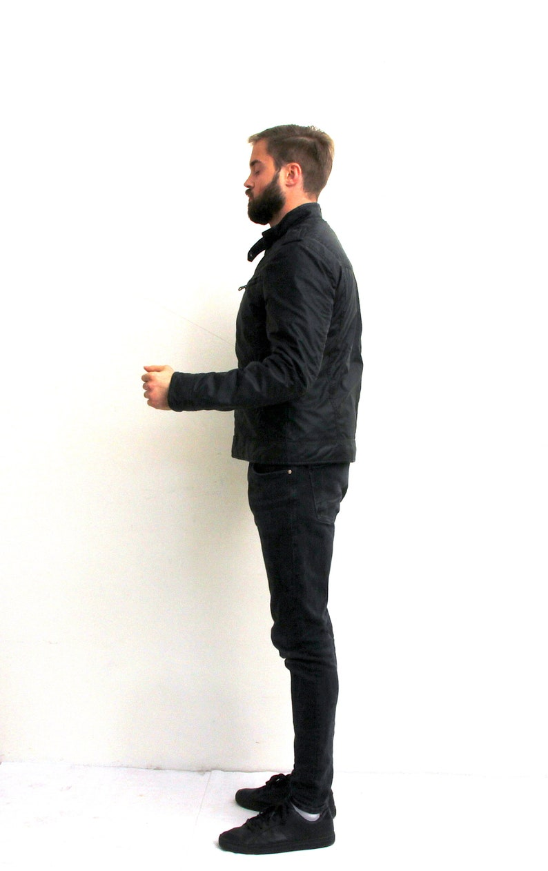 Fitted Biker Jacket Black Jacket Man Minimalist Jacket Spring Jacket M
