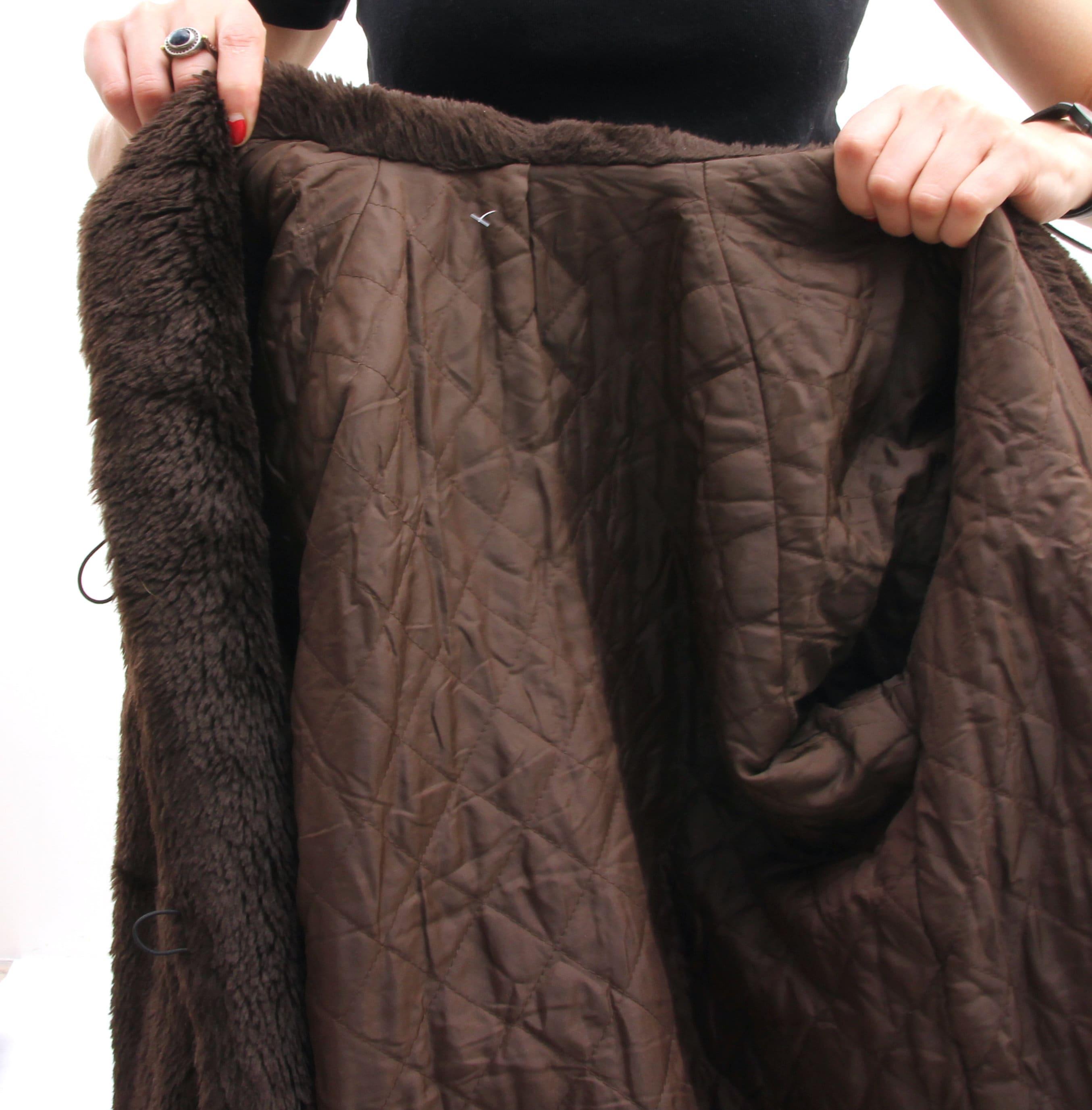 Vintage Faux Fur Coat Teddy Bear Jacket Brown Short Jacket Buttoned Furry Jacket XS