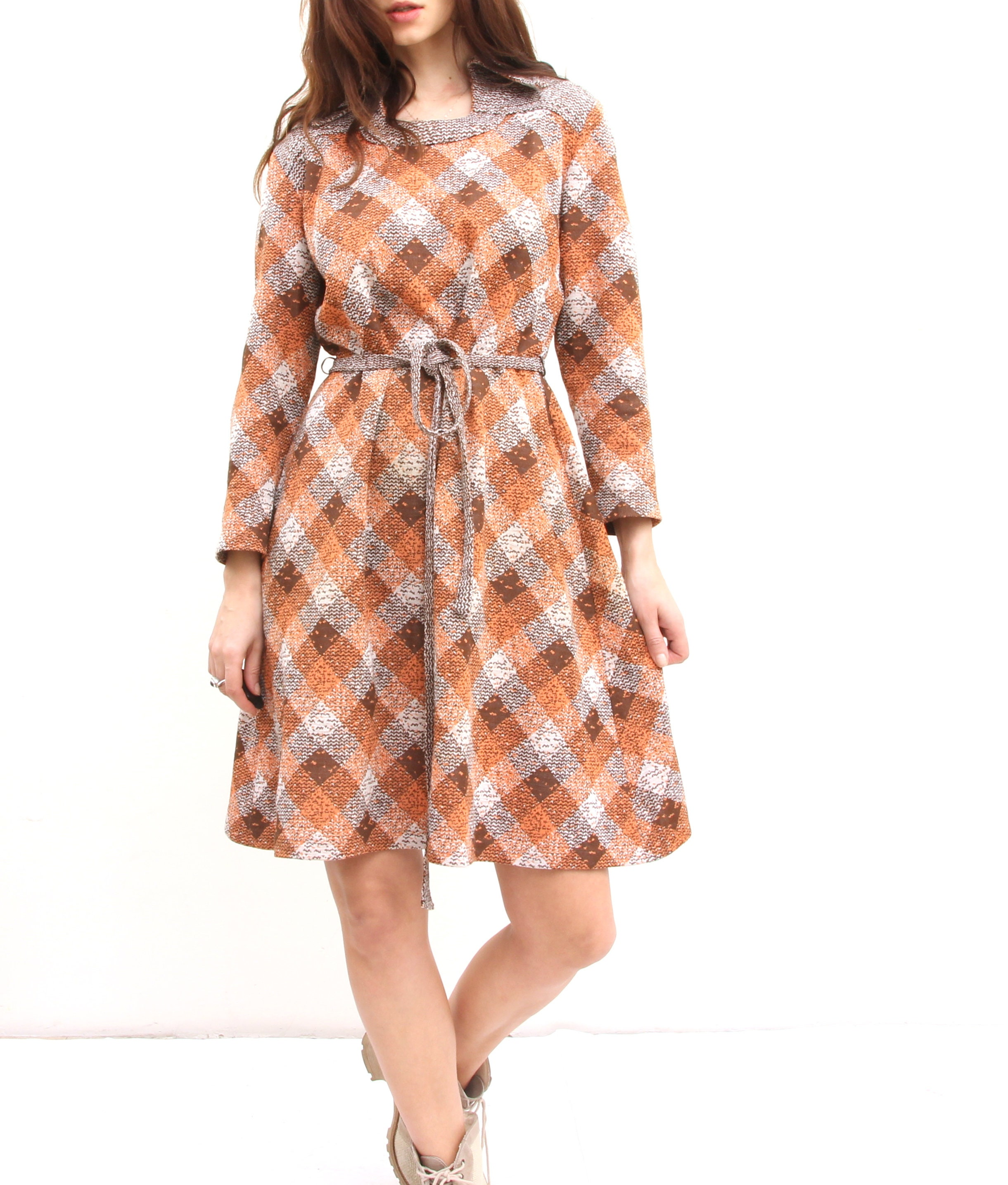 70s Geometric Print Waisted Dress Wing Collar Long Sleeve The Knee Length Dress M
