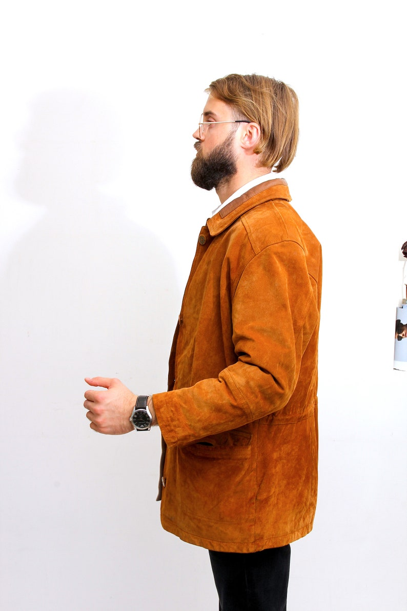 Woman Tan Brown Suede Jacket Button Down  Slim Fit Casual Coat M
