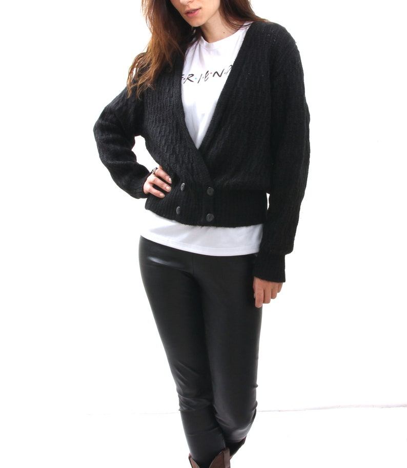 Black Deep V Neck Cardigan Mohair Women/'s Sweater Double Breasted Casual Cardigan M L