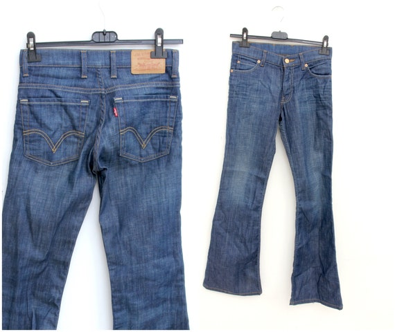 Faded Blue Levi's Flared Jeans Low Waist Cowgirl H