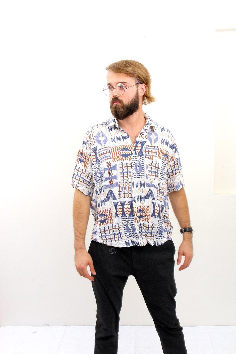 Abstract Short Sleeve Men Shirt Vintage Streetwear Boho Chemise M L